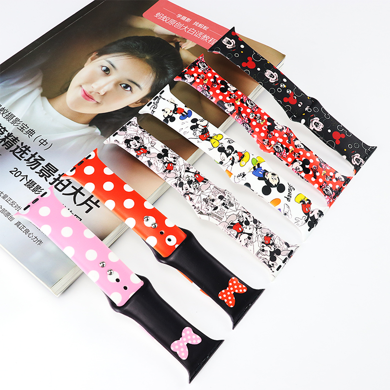 Mickey Mouse Silicone Sports Band For Apple Watch 38mm 42mm 40mm 44mm Bracelet Watchband Strap For Iwatch Series 5 4 3 2 1 Bands