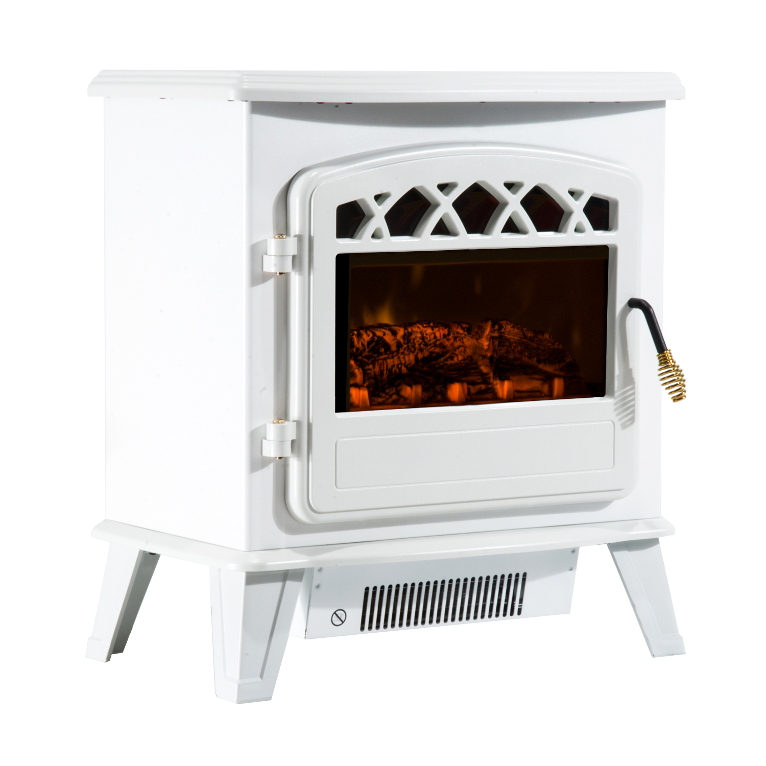 HOMCOM Electric Fireplace With Flame Effect Adjustable Power 900 W/1800 W 51 × 31 × 56 Cm White