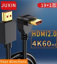 JUXIN 4K kabel kompatybilny z HDMI 90 stopni w górę/w dół lewy Adapter kątowy do Apple TV PS4 Splitter Video Audio kabel HDMI2.0