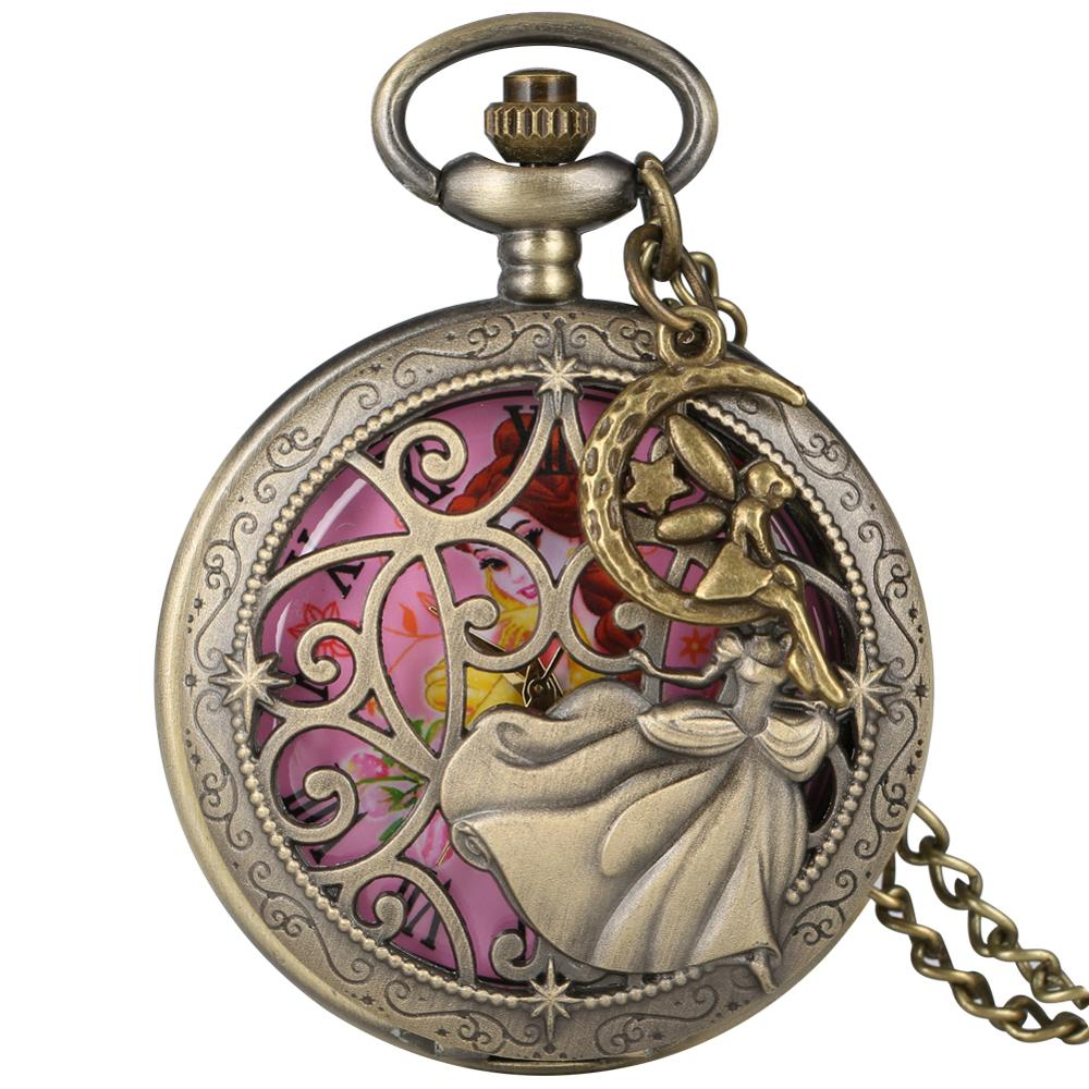 Hollow-out Princess Pattern Case Pocket Watches Women Necklace Chain Clock Pocket Watch Girls Reloj De Bolsillo Mujer Accessory