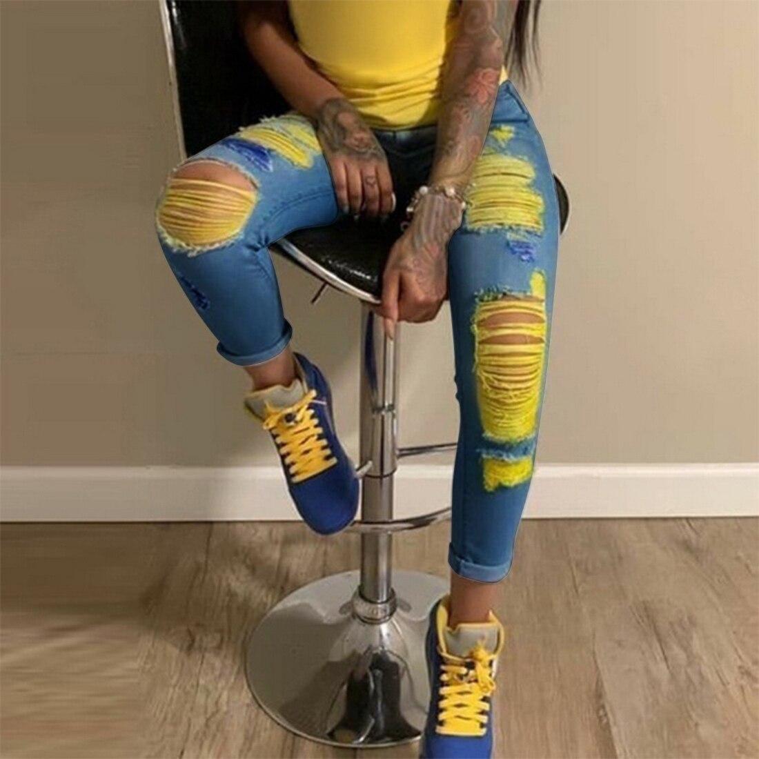 CYSINCOS Women High Waist Straight Jeans Pant Holes Streetwear Fashion Female Denim Jeans Woman Ripped Casual Jeans Ladies 2020