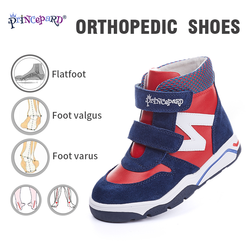 Princepard New Winter navy pink  orthopedic  kids boots boys Girls shoes with Ankle Support orthopedic sneakers