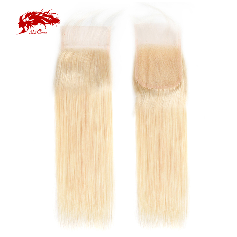 Ali Queen Hair 4x4 Lace Closure Middle/Free Part Brazilian Remy Straight Hair 10