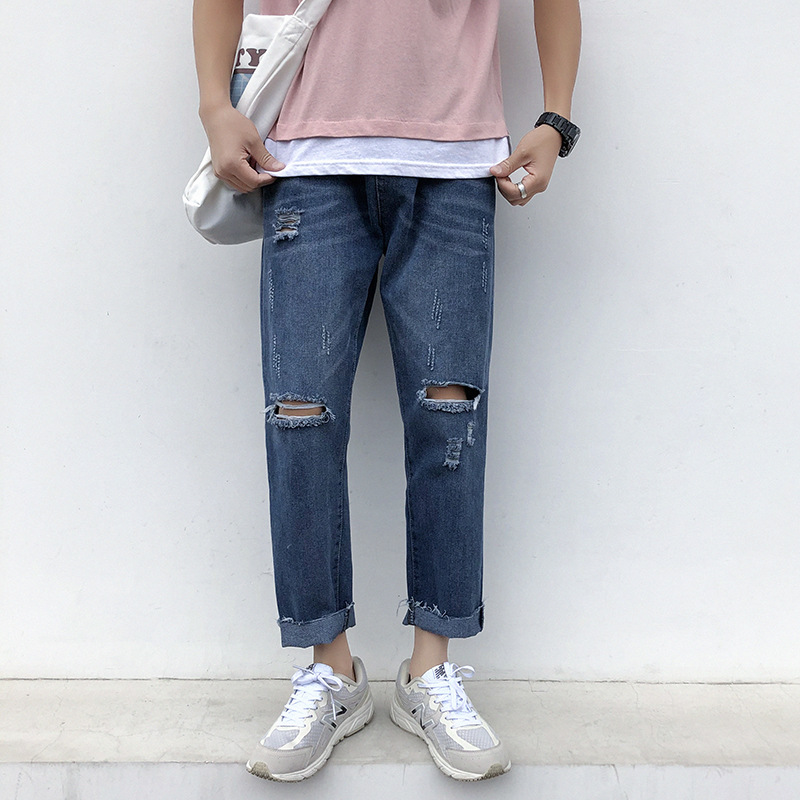 Fashion Casual Men Jeans Solid Loose Ankle Length Denim Trousers Plus Size Men Summer Streetwear Hole Frayed Cuffs Jeans