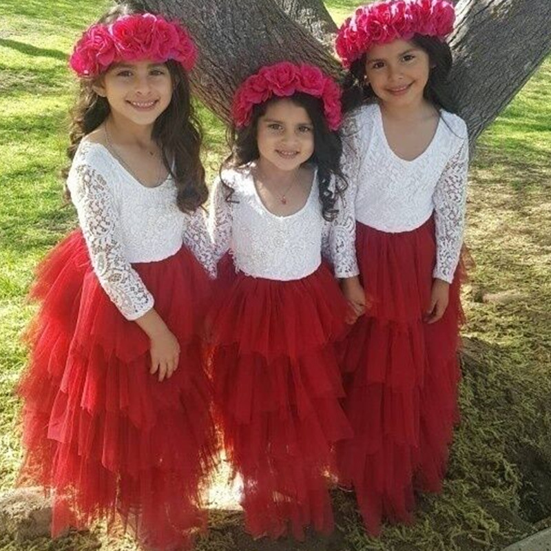 Girls Spring Lace Embroidery Princess Dress Kids Flower Fluffy Cake Smash Tutu Dress Children Wedding Birthday Party Costume 3