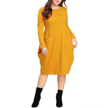 Dropshipping Women Casual Plus Size Long Sleeve Solid O-Neck Pocket Fold Dress Elegant Ladies Loose 2019 Autumn 0909