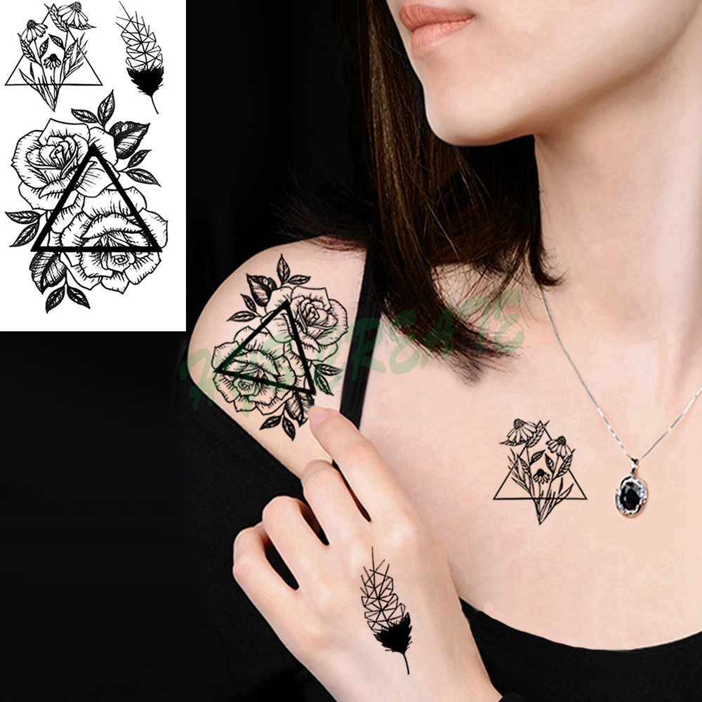 Fashion Colorful Flowers Tattoo Women New Waterproof Temporary Black Tattoo Sticker Body Art Hand Foot For Girl Women Men