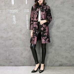 Image 3 - Novmoop משרד ליידי בתוספת גודל עור אמיתי כבשי מעיל רוח חולצות chaqueta mujer cuero ג נואינו LT2845