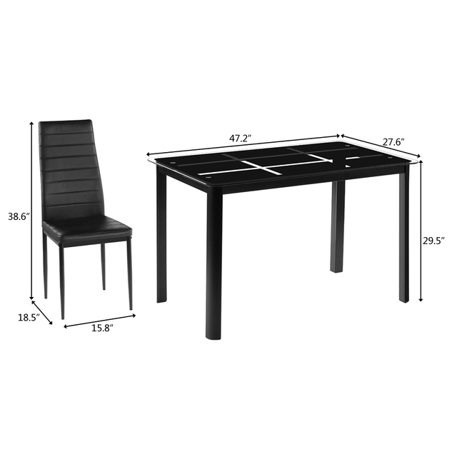 Dining Table w/ 4  High Backrest Chairs 2