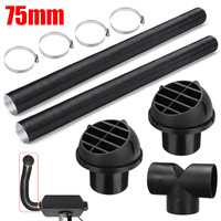 75mm Car Air Parking Heater Ducting Pipe Air Vent Outlet T shaped Connector Hose Clips Kit for Diesel Heater