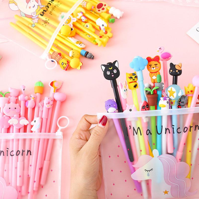 20 Pcs/lot Cute Cartoon Gel Pens With Pen Bag Writing Pen Kawaii Stationery Office School Supplies Kids Gifts Free Shipping