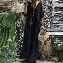 Women Lace Crochet Maxi Long Dress ZANZEA Summer 3/4 Sleeve Party Vestido Robe Femme Bohemian Sundress Casual Loose Autumn Dress