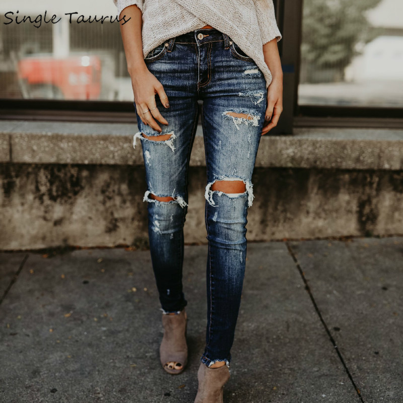 2019 Spring Fashion Bleached Ripped Jeans Women Cotton Denim Slim Elasticity Skinny Pants Moustache Effect Vintage Jeans Femme