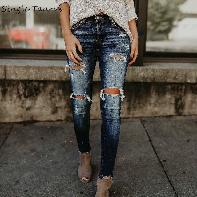 Women's Denim ripped jeans skinny