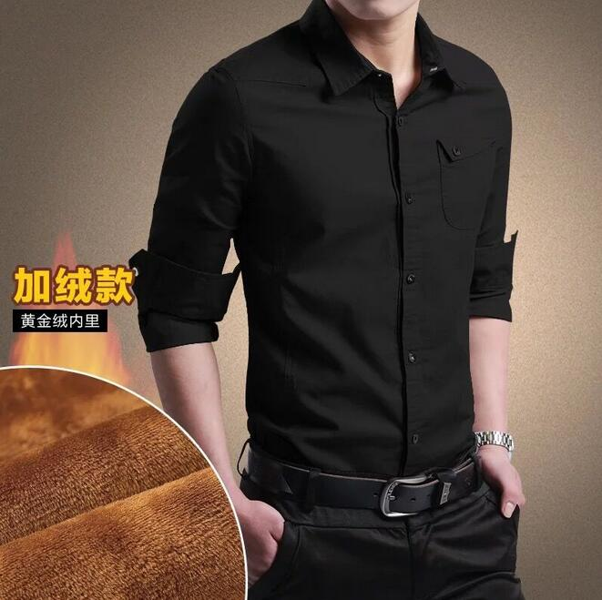 2019  New Men's Plus Velvet Thick Shirt Em8 Fashion Men's Men's Solid Color Long-sleeved Shirt Warm Shirt  MAN-17