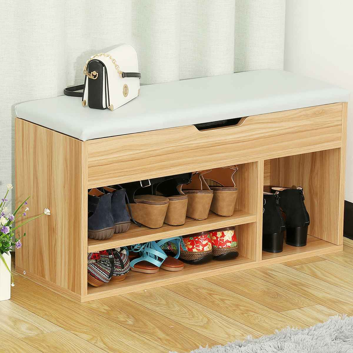 Shoe Bench Shoe Cabinet Simple Solid Wood Door Can Sit Storage Stool European Shoe Rack With Storage Cabinet