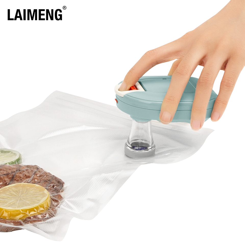 LAIMENG Rechargeable Automatic Seal Moto with Reusable Vacuum Zipper Bags for Food Storage BPA free Air Valve Bag Sous Vide P276