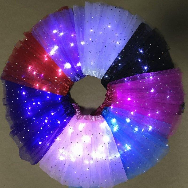 2021 New Light LED Girl Kids Clothes Star Tutu Skirt Princess Party Tulle Pettiskirt Child Ballet Dance  Children  Skirt 6