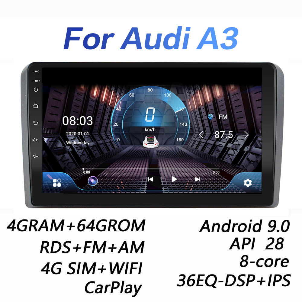 4G+64G DSP 2 din Android 9.0 4G NET Car Radio Multimedia Video Player for Audi A3 8P 2003 2012 S3 2006 2012 RS3 Sportback 2011|Car Multimedia Player|   - AliExpress