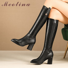 Meotina Winter Knee High Boots Women Natural Genuine Leather Thick Heel Riding Zip Pointed Toe Shoes Lady Fall 34-42