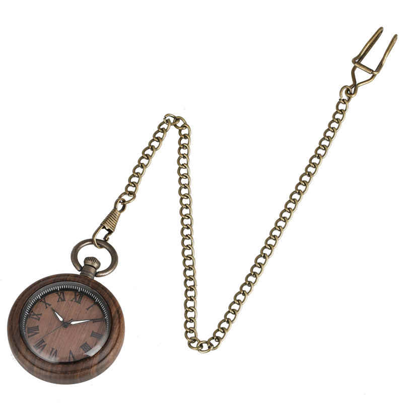 Reloj de bolsillo de cuarzo de madera marrón clásico, caja de madera luminosa para hombres, relojes colgantes para mujer, regalo de ébano, orologo da taschino