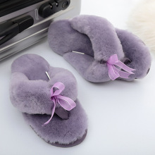 Fur Slippers House Shoes Warm Winter Women Fashion Lady Indoor Wool Natural-Sheepskin
