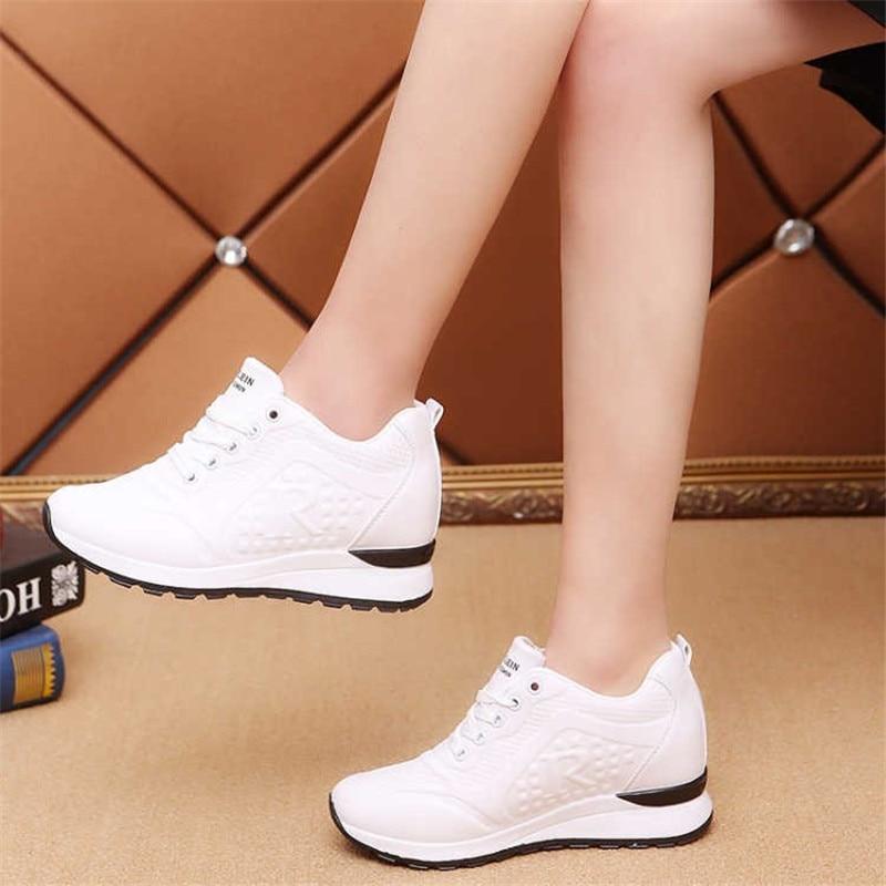 Sports Sneakers Women 6CM Heels Platform White Ladies Sneakers Chunky Sole Womens Trainers New Korean Version Air Sneakers Woman