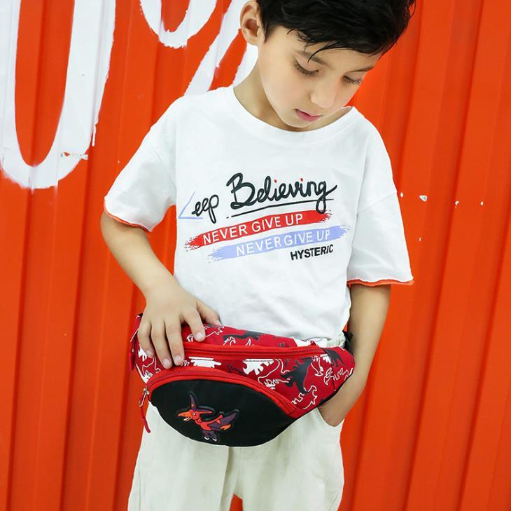 Модная детская поясная сумка для девочек и мальчиков, милая нагрудная сумка с динозавром из мультфильма, Детская поясная сумка, сумка для де...