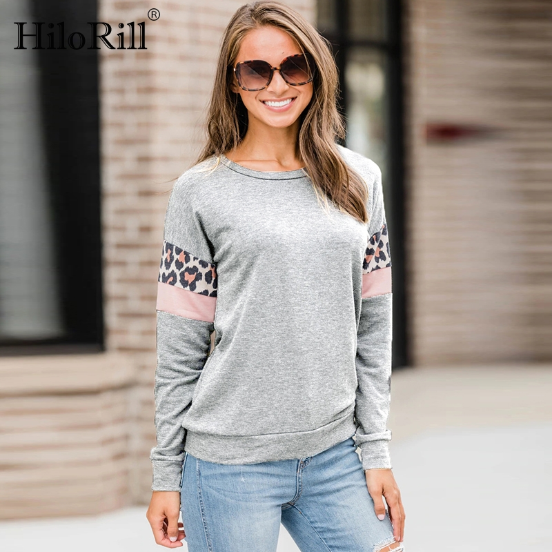 Leopard Stripe Patchwork Long Sleeve Women Hoodies 2019 Round Neck Casual Sweatshirts Autumn Pullover Fashion Tops Ladies Tunics