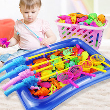 Children's fishing toys Magnetic Fishing Parent-child interactive Toys Game  fishing toy set suit magnetic play water baby toys