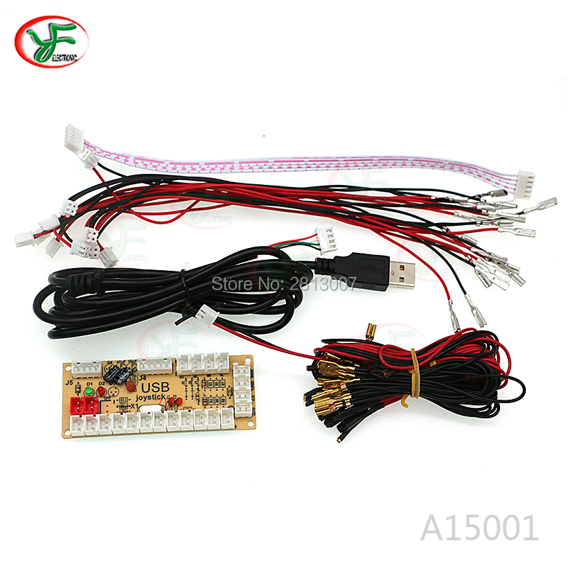 1SET Zero Delay Arcade Game USB Encoder joystick controller with LED button joystick wiring 5V light cable