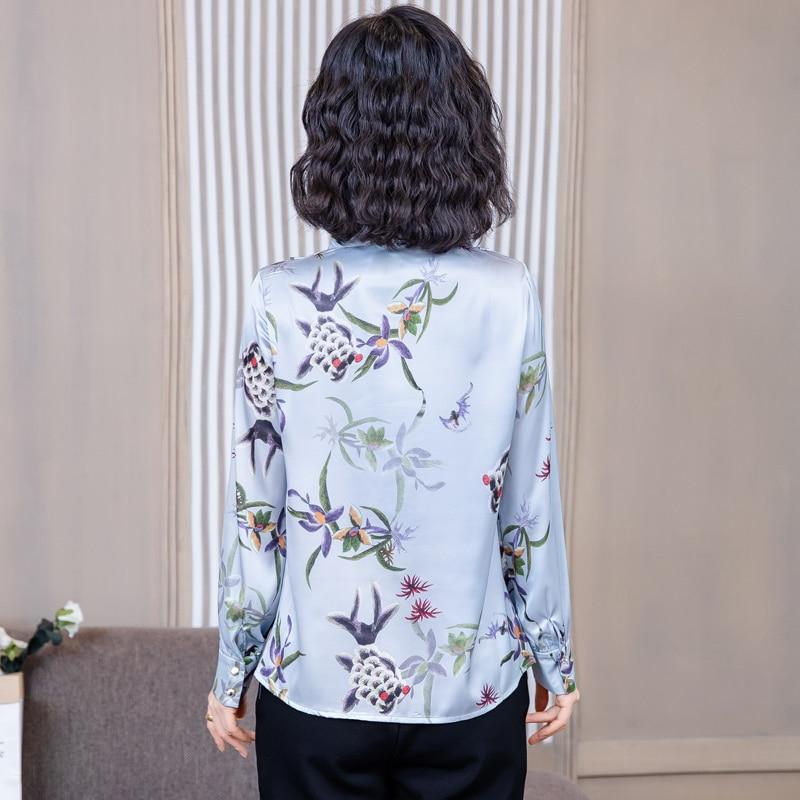 Korean Silk Blouses Women Print Blouse OL Satin Shirt Woman V-neck Shirt Plus Size Tops Blusas Femininas Elegante Women Blouses