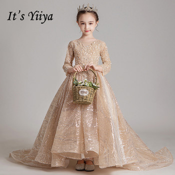Flower Girl Dresses Long Sleeves It's Yiiya B045 Luxury Beading Tulle Kids Communion Dress Pearls Sequins Girls Princess Gowns chaffare beading girls dress elegant kids party dresses for wedding formal tulle girl princess vestido pearls flower baby frocks