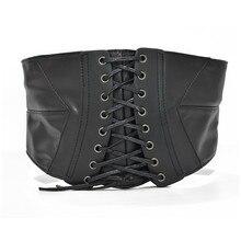 Высокая талия корсет бандаж пояс PU женщин старинные черный стрейч кронштейн ремень пояс широкие корсетные ремни