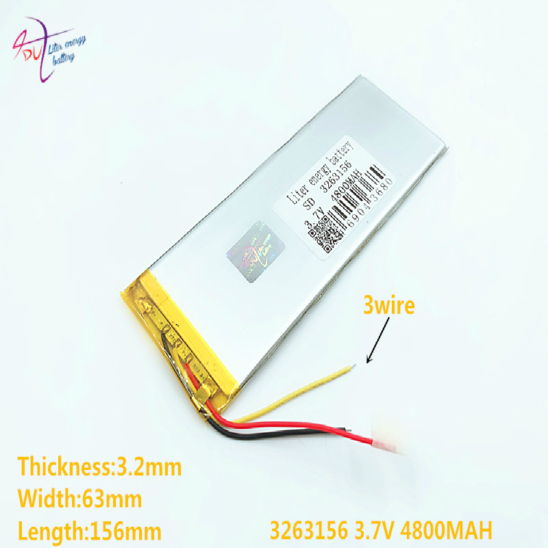 3 Line 1pcs 3263156 3.7V 4800mAh Rechargeable Li Polymer Li-ion Battery For 8 Inch 9inch Tablet PC CHUWI Hi8 Hi8 Pro Xv8 DVD DVR