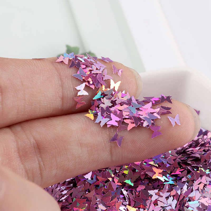Ultrathin 4 มม.ผีเสื้อเล็บเล็บเล็บ Glitter Paillettes EO-Friendly PET เล็บเล็บเล็บ DIY วัสดุ 10G
