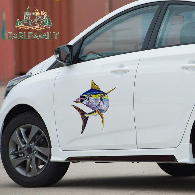 EARLFAMILY ملصقات السيارة بزعنفة التونة الصفراء ، 43 سنتيمتر × 36.7 سنتيمتر ، ديكور صندوق السيارة ، ديكور صندوق السيارة