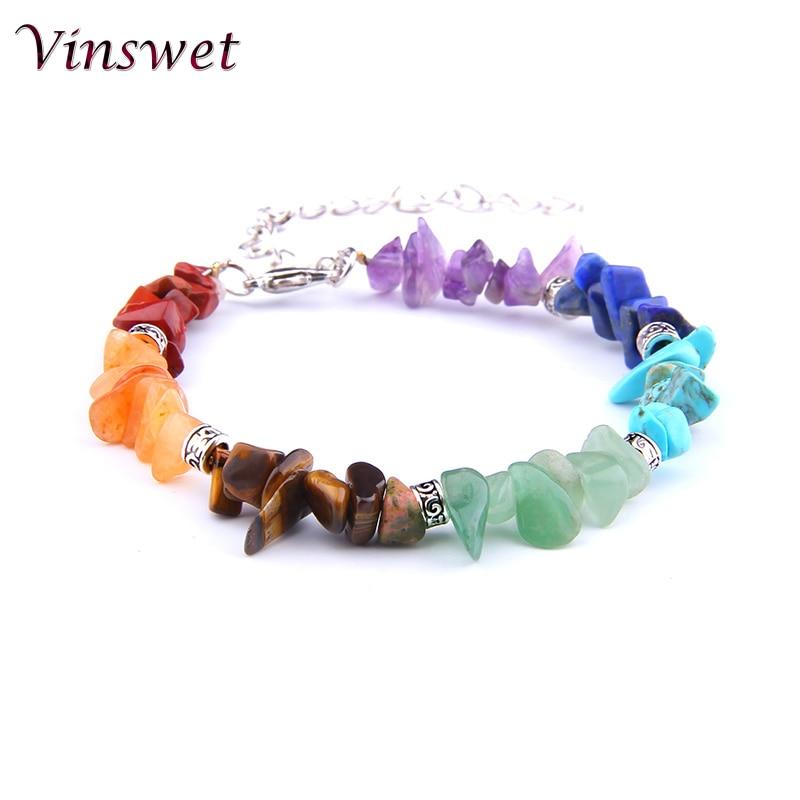 Lucky Rainbow 7 Chakra Bracelet For Women Femme Natural Stone Rainbow Healing Mala Pray Yoga Bracelet For Women Jewelry Gift