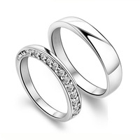TR540 925 Simple couple ring in sterling silver