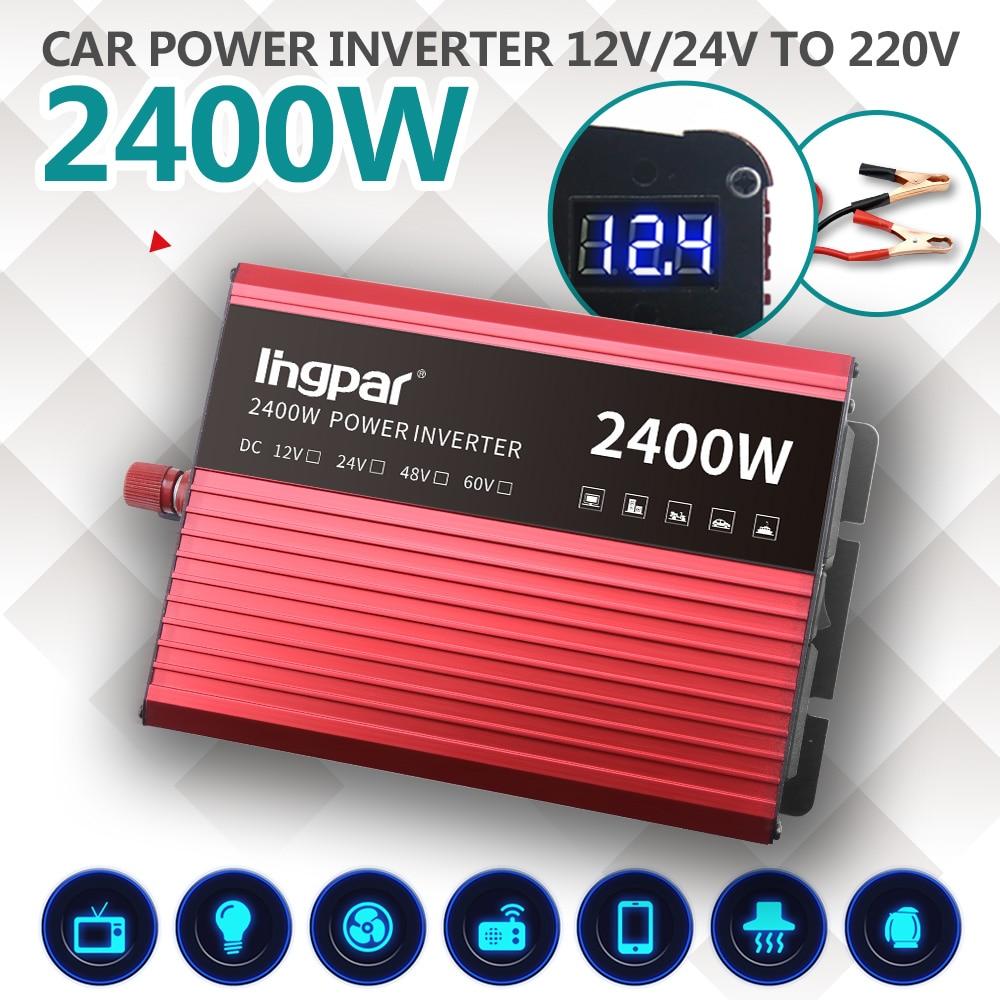 Lingpar 2400 Вт портативный автомобильный инвертор, трансформатор, зарядное устройство, светодиодный дисплей, двойной разъем, преобразователь