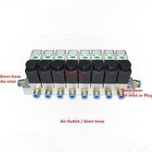 1 Pc Magneetventiel Rail 2 Way Pneumatische Aluminium Sets 2V025 06/08 Poort 1/8 1/4 Bsp Pushfit Fittings 6mm DC24V/12V AC220V/110V
