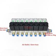 1PC magnetventil schienen 2 weg Pneumatische Aluminium sets 2V025 06/08 Port 1/8 1/4 BSP pushfit armaturen 6mm DC24V/12V AC220V/110V