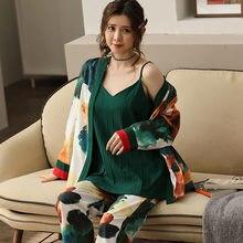 Пижама женская с принтом кимоно халат одежда для сна Хлопковая