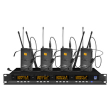 Metal 4-channel UHF wireless microphone system with 4 head-mounted microphones for stage church family gatherings high end uhf 8x50 channel goose neck desk wireless conference microphones system for meeting room