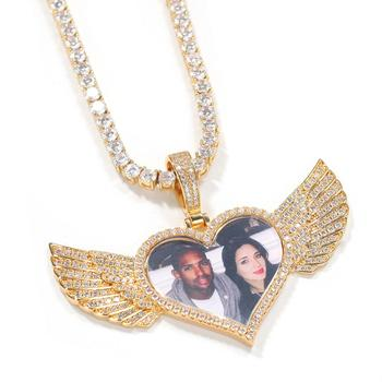 Zciti Gold Custom Made Photo With Wings Lockets Necklace & Pendant 4Mm Tennis Chain Cubic Zircon Men Hip Hop Jewelry gold pendant with topaz and cubic zirkonia