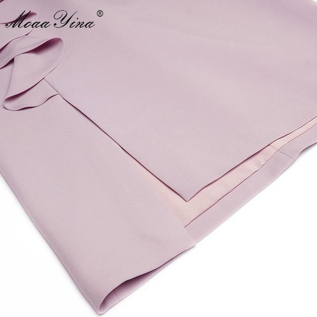 MoaaYina Fashion Designer dress Spring Women's Dress V-neck Lace Patchwork Package hip Ruffles Split Dresses 6