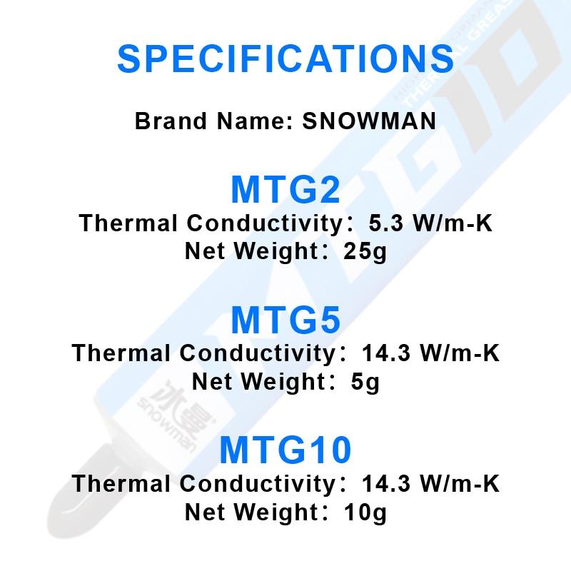 SNOWMAN Thermal Paste 14.3W/mk Grease for AMD Intel Processor CPU Cooler Computer Cooling Fan VGA GPU Compound Heatsink Plaster 4