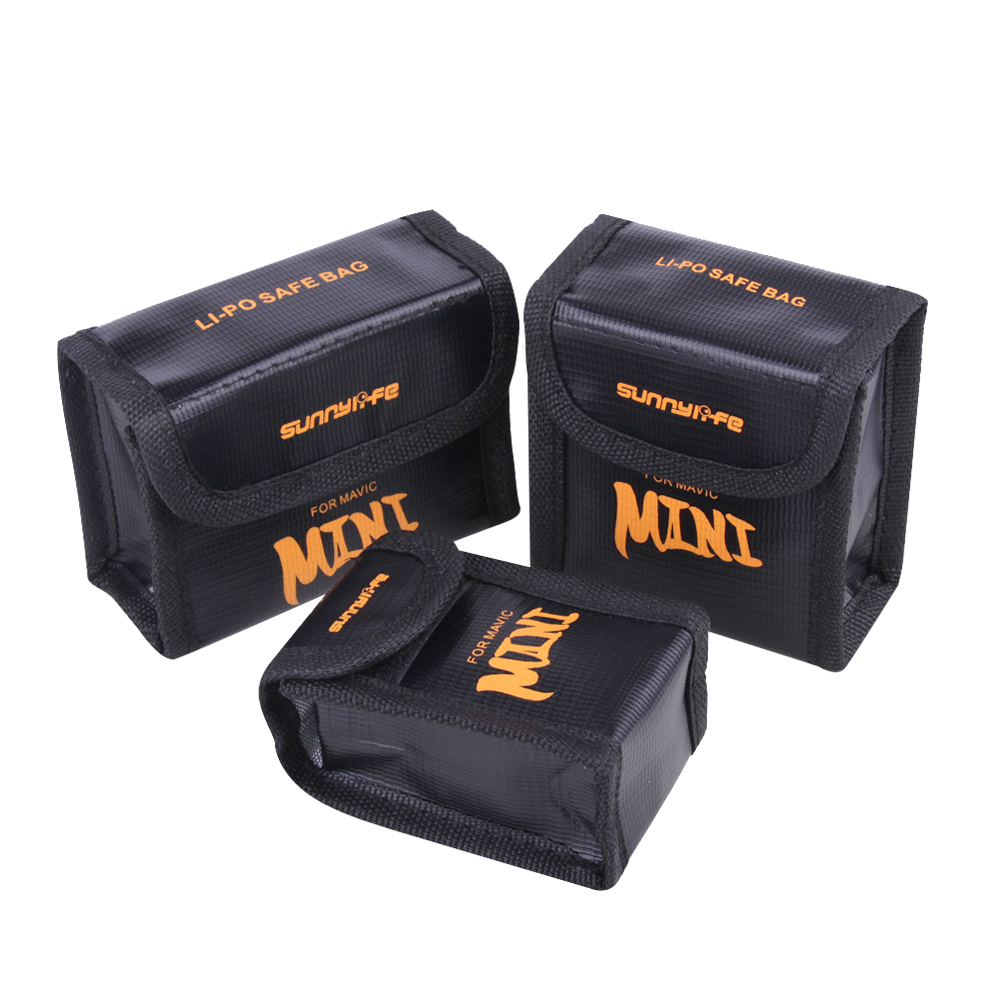 Sunnylife For DJI Mavic Mini Accessories Battery Explosion-proof Bag Fireproof Protective Storage Box Battery Safe Bag 1/2/3 Pcs
