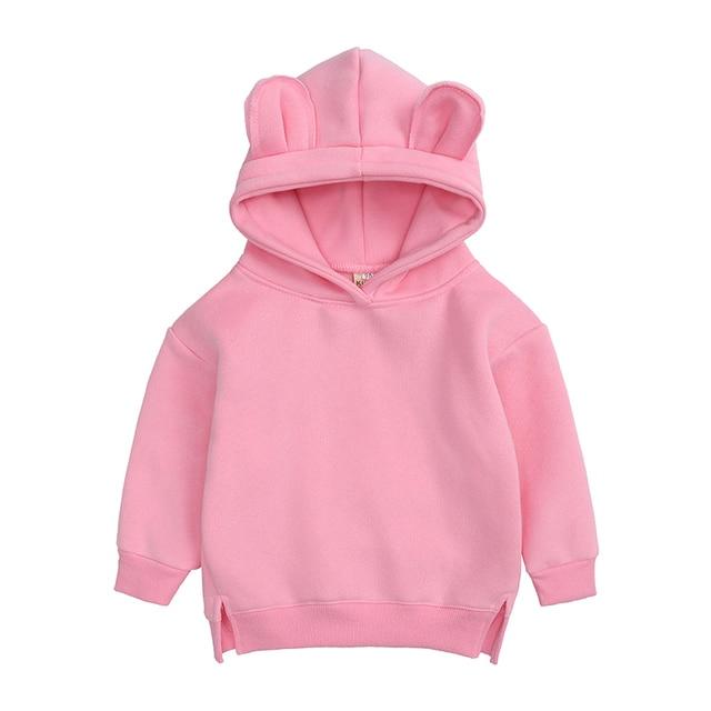 Baby Boys Girls Hoodies Cotton Hooded Sweatshirt Children Fashion Clothes Kids 2021 Infant Cartoon Clothing Pink Gray winter 2