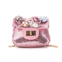 PU leather paillette floral women round coin purse kids wallet children small pouch money bag bolsa carteira feminina for girls артур конан дойл долина ужаса